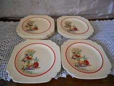 Vintage 1950s Collectible Homer Laughlin Company Hacienda Red Line Pattern Dessert Plates Set Of Eight Southwestern Style & Homer Laughlin Hacienda Red Line Pattern Plates Vintage Dinnerware ...