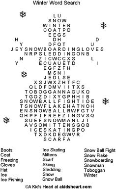 winter words | Winter Word Search Puzzle to Print and Play