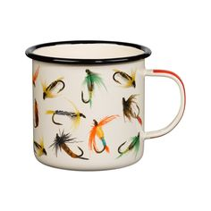 Pour your favorite fisherman (or lady) their favorite morning brew in this roomy enamel mug. Featuring a chic fly-fishing print with a pretty red handle, this mug is a sure morning household favorite.  Find the Colorful Fishhook Enamel Mug, as seen in the The Modern Outdoorsman Collection at http://dotandbo.com/collections/the-modern-outdoorsman?utm_source=pinterest&utm_medium=organic&db_sku=99058