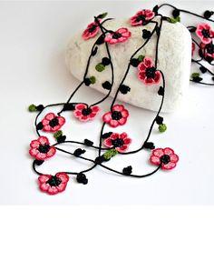 Crochet Necklace Cherry Blossom Burgundy Pink Flowers Oya Beaded Lariat Jewellery, Beadwork, Crochet ReddApple, Fast Delivery