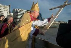 Blessing of The Thames. The annual blessing of the waters ceremony which the priest saw in the orthodox churches of serbia -  impressed fr Philip Warnmar, so he decided to bring the ceremony to the river Thames. his parish meets that of Southwark Cathedral at the centre of the river, and the two congregations have met annually at the middle of london bridge since 2004.