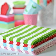 To complete my new fun set of brightly coloured paper straws, cups and candles I also have a set of brightly coloured striped napkins. Perfect for my rainbow cakes and monster cake pops I have been ma Paper Straws, Paper Napkins, Monster Cake Pops, Colored Paper, Bright Colors, Gift Wrapping, Candy Sweet, Picnic Ideas, Desserts