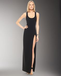 Open-Back Gown with Slit
