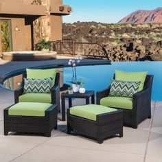 Bring the cool, calm style of this conversation set to your home to enliven your patio, deck, or garden.