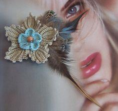 khaki browns Bohemian crochet  flower  por DAINTYCROCHETBYALY