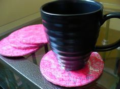 Craft tutorial: lace mirror coasters