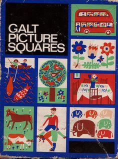 Vintage Galt Picture Squares Box