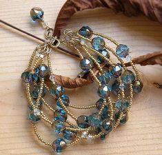 Seed beads and crystal multi strand bracelet Wire Jewelry, Jewelry Crafts, Beaded Jewelry, Jewelery, Jewelry Bracelets, Handmade Jewelry, Pearl Jewelry, Earrings Handmade, Jewelry Accessories