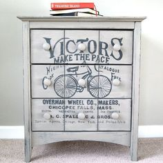 We gave this side table a makeover with chalk paint and some hand stenciling.