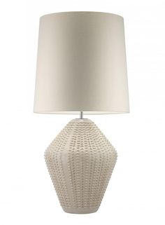 """Hotel Lighting Collection: 36"""" Tall Contemporary Ceramic Art Table Lamp * Antique Ivory * 100 Custom Color Shade Options"""