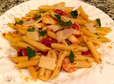 Lemon Dijon Shrimp Scampi with Penne Pasta, Sun Dried Tomatoes & Shaved Parmesan
