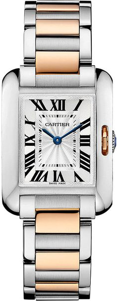 Cartier Tank Anglaise 18ct Pink-Gold and Steel Small Watch - for Women
