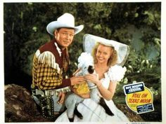 """Roy and Dale with Taffy the lamb in """"Roll On Texas Moon""""(1946)"""