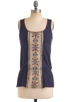 Weaving the City Top - Blue, Orange, Tan / Cream, Cutout, Tank top (2 thick straps), Blue, Solid, Embroidery, Casual, Boho, Sleeveless, Summer, Mid-length
