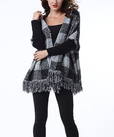 Look what I found on #zulily! Black Buffalo Check Open Cardigan #zulilyfinds