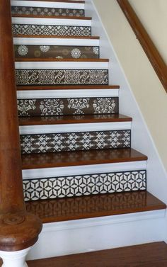 Your daily dose of Inspiration: Fleur De Lis / Stair Riser / Alternative to Stair Decals and Stair Stickers / French Home Decor / Ba Basement Stairs, House Stairs, Decoration Baroque, Stair Stickers, Escalier Design, Contemporary Stairs, Stair Decor, Staircase Design, Stair Design
