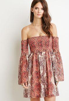 Tile Print Off-the-Shoulder Dress | Forever 21 - 2000132304