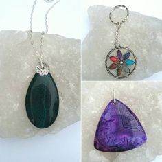 Chakra flower keyring and 2 interchangeable agate by BeadCaveMk3