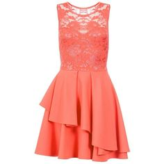 Dorothy Perkins **Quiz Coral Layer Skater Dress ($44) ❤ liked on Polyvore featuring dresses, coral, red skater skirt, red skater dress, coral dresses, red flared skirt and dorothy perkins