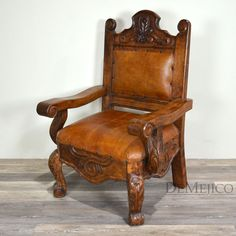 A Spanish Colonial bench, the Banca Conquista is a single seat bench. This piece combines sturdy handcrafted wood with sewn leathers and etched detail.