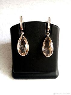 Materials: Silver 925 Samples, Topaz, White Topaz Size: 11x40mm ##handmade Topaz Earrings, Silver Earrings, Pearl Earrings, Close Up Photos, White Topaz, Sterling Silver, Handmade, Free, Jewelry