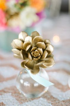 Wedding Philippines - Wedding Trends - Metallic Painted Gold Silver Plant Flower Fruit 04- Golden Succulents