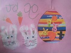 My sons school project with bunny made from his hands and an egg of strips of painted paper!