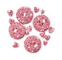 VALENTINE set of 15 circles and hearts buttons  red by Chifonie, €10.50