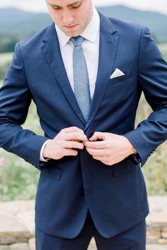 John had his guys wear navy blue groomsmen suits and dusty blue slim ties for his fall North Garden, VA wedding. Blue Wedding Suit Groom, Blue Groomsmen Suits, Navy Blue Tuxedos, Groomsmen Outfits, Groom And Groomsmen Attire, Navy Suit Blue Tie, Navy Suits Groomsmen, Wedding Attire, Dusty Blue Bridesmaid Dresses