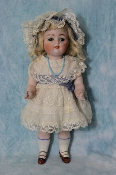 HUGE-11-5-Antique-KESTNER-c1890-ALL-BISQUE-doll-150-13-Glass-Eyes-Molded-Shoe