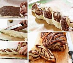 Funny pictures about Delicious Nutella Bread. Oh, and cool pics about Delicious Nutella Bread. Also, Delicious Nutella Bread photos. Brioche Nutella, Braided Nutella Bread, Braided Bread, Just Desserts, Dessert Recipes, Star Bread, Do It Yourself Food, Good Food, Yummy Food