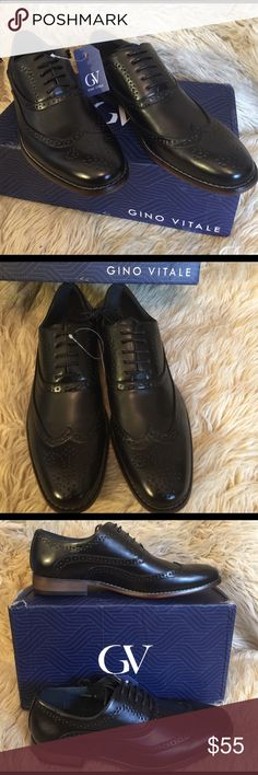 GINO VITALE Men's Wing Tip Oxford Dress Shoes sz 9 Black GINO VITALE Men's Wing Tip Oxford Dress Shoes sz 9.  Retro-inspired wing tip style.  Eyelet detailing.  Hand burnished polish.  Round toes.  PU upper.  Leather lining.  Man-made outside. Gino Vitale Shoes Oxfords & Derbys