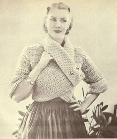 The Vintage Pattern Files: Free 1950's Knitting Pattern - A Coat in Novelty Wool