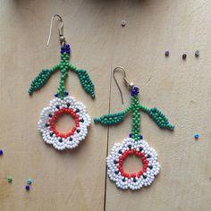 Mexican earrings handmade beaded by huichol by ArtesaniaHUICHOL Seed Bead Jewelry, Seed Bead Earrings, Beaded Earrings, Earrings Handmade, Beaded Jewelry, Crochet Earrings, Beaded Bracelets, Etsy Jewelry, Handmade Shop