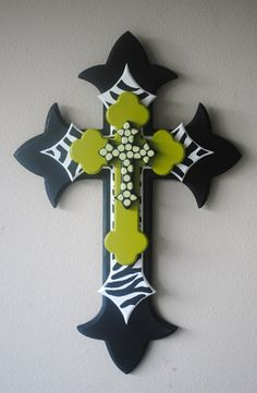 painted and stacked crosses