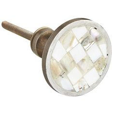 Checkerboard Mother Of Pearl Knob White