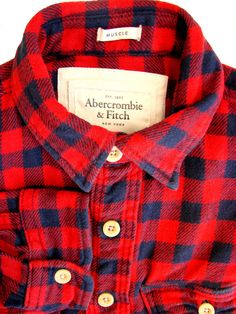 55b6e73717 ABERCROMBIE & FITCH Shirt Mens 16.5 L Red & Blue Check MUSCLE THICK  MATERIAL- £