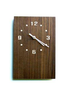 Rectangular Walnut Wall Clock by MadeWrightSF on Etsy
