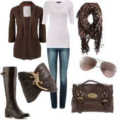 cute brown & white outfit!  Love the scarf, boots, and bag!