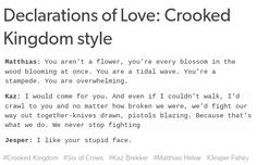 Declarations of love: Crooked Kingdom style