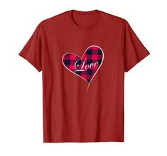 Valentine's Day tee shirt Buffalo Plaid Heart with word Love T-Shirt Best Friend Shirts, Dad To Be Shirts, Family Shirts, Tee Shirts, Tees, Love Shirt, Cute Tshirts, Buffalo Plaid, Branded T Shirts