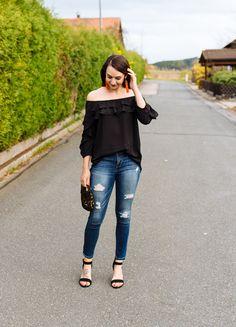Black Off the Shoulder Top + Orange Tassel Earrings | Countdown to Friday