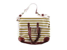 candy stripe print canvas + leather bag