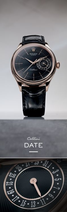 "The Rolex Cellini Date 39 mm in Everose gold with a black dial featuring a ""rayon flammé de la gloire"" guilloche motif and mounted on an alligator leather strap. #RolexOfficial #Baselworld"