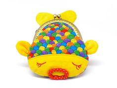 Cute yellow fish clutch purse