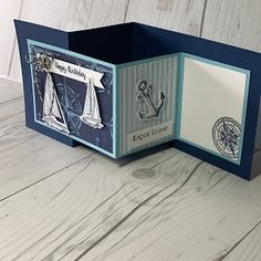 Sophisticates Z-fold card using the Sailing HOme Stamp Set from Stampin' Up!Z-fold card using the Sailing HOme Stamp Set from Stampin' Up! Z Cards, Fun Fold Cards, Folded Cards, Masculine Birthday Cards, Birthday Cards For Men, Masculine Cards, Karten Diy, Nautical Cards, Coffee Cards