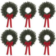 20 in. Artificial Canada Pine Wreath with Red Bow (Set of 6) $35