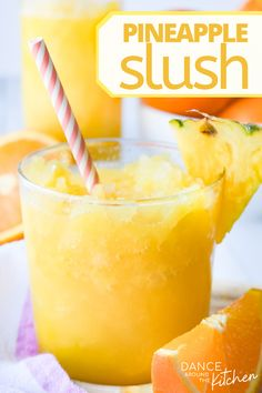 Pineapple Slush is easy to throw together, refreshing and so incredibly delicious! Perfect any time of year, including those hot summer days and winter holiday parties! Dessert Drinks, Fun Drinks, Healthy Drinks, Beverages, Cold Drinks, Mixed Drinks, Eating Healthy, Healthy Snacks, Clean Eating