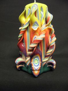 Hand+Carved+Candle+Rainbow+by+TwoLadiesAndBunny+on+Etsy,+$20.00