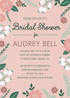 Blush Floral Shower Invite card by Postable on Postable.com